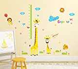 #7: Amazon Brand - Solimo Wall Sticker for Kids' Room (Grow up with Giraffe, Ideal Size on Wall: 190 cm x 194 cm)