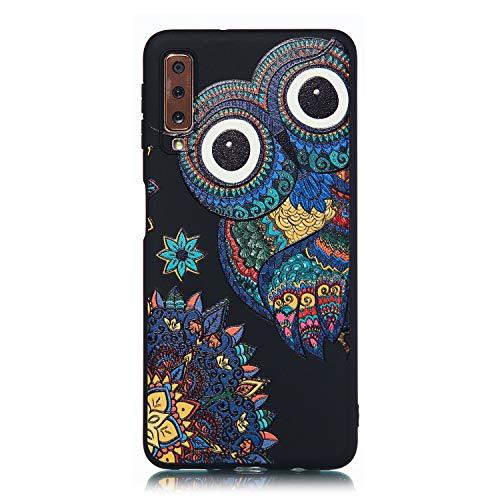 ChoosEU Nero Cover per Samsung Galaxy A7 2018 Silicone Disegni Colorate Custodia Morbido per Ragazze Donne Uomo, Case Antiurto Divertente Gomma Matte Slim Protezione - Gufo