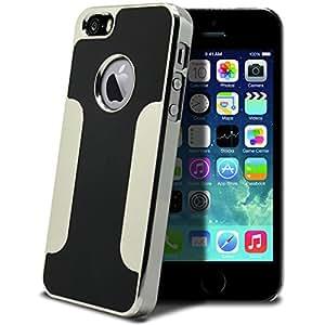Coque iPhone 5S / 5 Aluminium Chrome COLORS BRUSH Noire