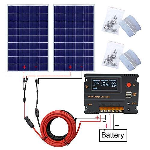 ECO-WORTHY 240W 12V Solar Panel System: 2 Stück 120W wasserdicht Solar Panel, 20A Controller, 5m Solarkabel und andere Zubehör Polykristalline Silikon Material für Caravan RV Boat Cabin Camper