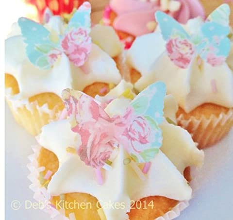 Mothers Day Cake Decorations - Rose Edible Wafer Butterflies x 24