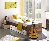 moebel-guenstig24.de Jugendbett Wiki Kinderbett Bett Schubkasten Kinderzimmer Jugendzimmer Farbe: Walnuss Weiß