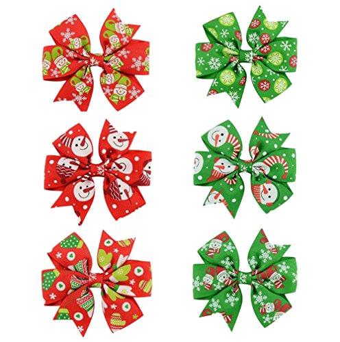 Vi.yo Weihnachten Cartoon Bowknot Haarnadel Mischfarbe Boutique Grosgrainband Haar Bögen Krokodilklemmen Haarschmuck Für Mädchen Baby Kleinkinder size 8*8CM (Mehrfarben D) (Boutique Baby-bögen)