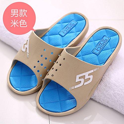 DogHaccd pantofole,Estate uomini bagno pantofole estate Camera di spessore, antiscivolo casa bagno fresco con plastica ciabatte Il beige1