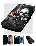 iPhone 5/5S Tête de Mort Rose Motif Lightning. Imprimé en Cuir synthétique Flip téléphone Coque Gothique/Emo/métal