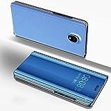 Coque Samsung Galaxy J3 2017,Étui Placage Miroir Samsung Galaxy J330,Ostop Fonction Stand en Cuir Ultra Mince Transparent à Rabat Housse Magnétique Smart View avec Fenêtre Luxe Coque de Protection pour PC Avant et Arrière-Bleu