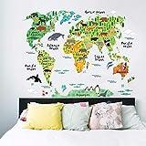 HUAIX Home Wandaufkleber Animal World MAP Schlafzimmer Wohnzimmer Wandaufkleber Wasserdicht Abnehmbar