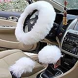Yontree 1 Set 3 Pcs Faux Wool Steering Wheel Cover Handbrake Cover Gear Shift Cover Steering Wheel Cover White