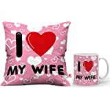 Indibni I Love My Wife Cushion Cover 12X12 with Filler-Pink and Coffee Mug Gift for Him Her Wife Husband Fiance Spouse Birthday