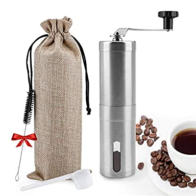 Manual Coffee Grinder,UNIFUN Burr Coffee Crinder Stainless Steel with Adjustable Ceramic Conical Burr, Hand Crank Mill, Compact Size Perfect for Your Home, Office or Travelling by UNIFUN