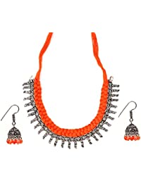 Tandra's Fashion Oxidised Or German Silver Orange Choker Necklace Set For Women And Girls