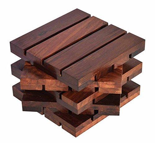 hashcart Untersetzer für drinks-hot & kalt/Untersetzer aus Holz Sets/Esszimmer, Tee & Kaffee Tisch Deko Cocktail Untersetzer in Sheesham Holz | Set von 5, Palisander, braun, 4x4 inch (In-house-grill)