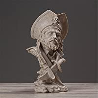 Pirate Bust Statue Resin Sculpture Artwork Art Home Decoration - Creative Figurines Desk Ornaments Living Room Restaurant Café Bar Decor Man Kid Gifts