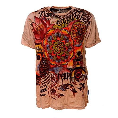 Kunst und Magie Sure Buntes 70er Retro T-Shirt mit' Namaste OM' im Crinkle Look Braun