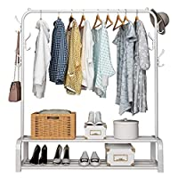 UDEAR Garment Rack Free-standing Clothes Rack With Top Rod,Lower Storage and 8 Hooks,White