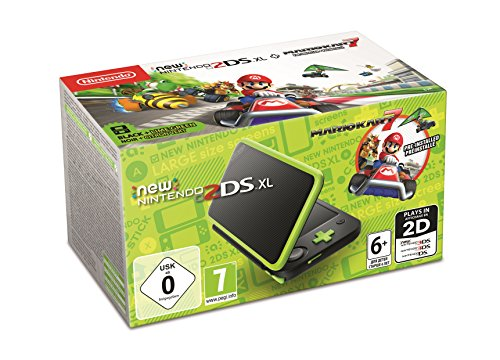 New Nintendo 2DS XL Schwarz + Apfelgrün inkl. Mario Kart 7 (Gameboy Advance-dsi)