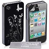 Yousave Accessories® Schutz Hülle für Apple iPhone 4 / iPhone 4S Schwarz Und Silber Schmetterling Blumen Muster Rück Schale Cover
