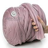 MeriWoolArt 100% Merinowolle zum Stricken & Häkeln mit 4-5 cm dickem Garn | Dicke Merino Wolle für XXL Schal, Decke & Kissen (Powder Pink, 500g)