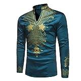 Domybest Herren Langarm Mode afrikanischen Dashiki Print Stehkragen Shirt Tops (2XL)