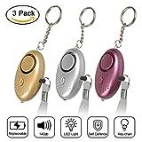 Taschenalarm, Jim's Store 140 dB Persönlicher Alarm mit Taschenlampe Schlüsselanhänger, Panikalarm Selbstverteidigung Sirene für Frauen Kinder (3 Stück)