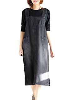 CHEN Womens Loose Long Jean Skirt Stretch Denim Dungarees Pinafore Dress Plus Size