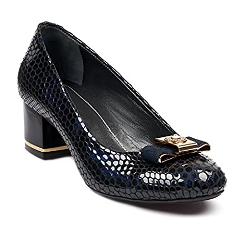 BOBERCK Diana Collection Women's Snake Print Leather Pumps (7 US, Navy)