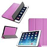 XEPTIO Schutzhülle für Apple iPad Air 2 (Wifi/4G/LTE), faltbar, Leder, mit Standfunktion, Violett