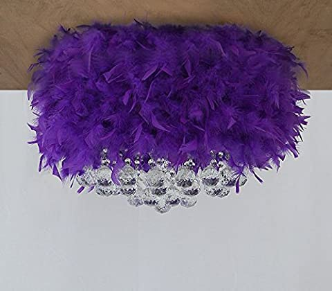 Sunjun&Light Moderne lampe de plafond Minimaliste Creative Purple Crystal Feather LED E27 ( Couleur : 40-45cm )