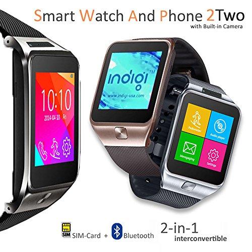 Indigi® entsperrt GSM Smartwatch Handy Bluetooth Kamera MP3Radio Schrittzähler Schlaf Monitor Benachrichtigung Android Galaxy S6S6Edge Note 4iPhone * (Silber)