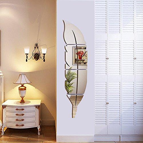 Helle Feder Wandaufkleber Spiegel, 3D Moderne Dekorative Spiegel Entfernbare Wandkunst für Wohnzimmer Schlafzimmer Büro Dekoration 120x30 cm (Links) (Dekorative Wand-schränke)