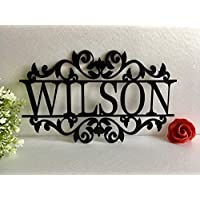 Personalised Any Name Laser Cut Acrylic Metal Wood Sign Outdoor Wall Hanging Family Last Name Signs Monogram Garden Front Door Custom Wedding Sign Wall Art Decor Ornament Housewarming Gift for Hostess