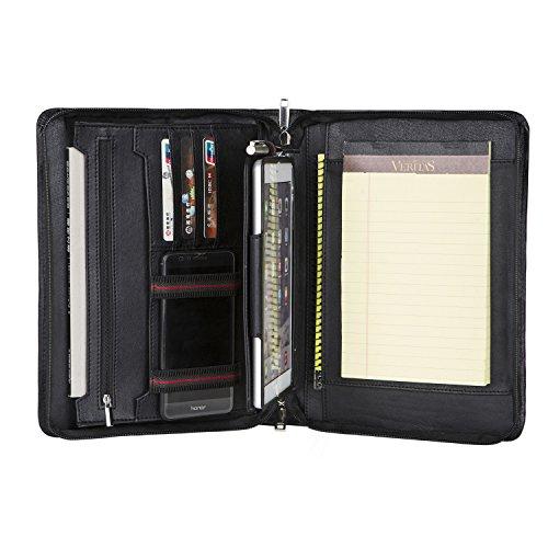 Portafolios de Piel Portafolio de Cuero A5 Conferencia de Cuero, 10.5 Estuche iPad Pro, Cuero de Piel de Cabra (Negro)