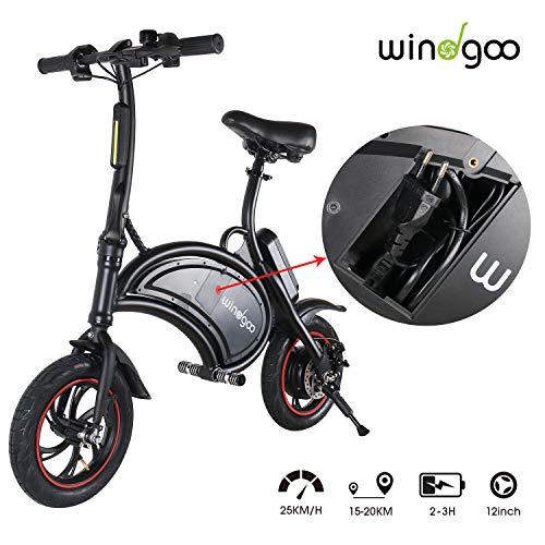 TOEU Bicicleta Eléctrica 36V con LED, Velocidad Ajustable hasta 25 KM/H (Black1)