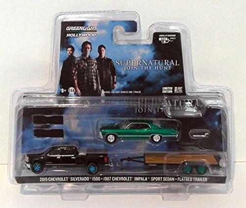 GREENLIGHT 1:64 SUPERNATURAL 1967 CHEVROLET IMPALA SPORT SEDAN 1968 CHEVROLET C10 ENCLOSED CAR HAULER: JOIN THE HUNT TRAILER SET by Greenlight