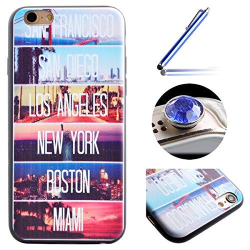 Etsue pour iPhone 7(4.7 Pouce) Coque de Téléphone,Mode Doux TPU Case Housse pour iPhone 7(4.7 Pouce),Sur Fond Noir [La tour] Motif Soft Silicone Case étui shell pour iPhone 7(4.7 Pouce) + 1x Bleu styl Paysage Nocturne de New York