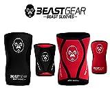 Beast Gear Beast Sleeves by Genouillères de Compression en néoprène de 5 mm pour Plus de Soutien et de Protection. Haltérophilie, Crossfit, haltérophilie, Squats, Course et Plus Encore, L