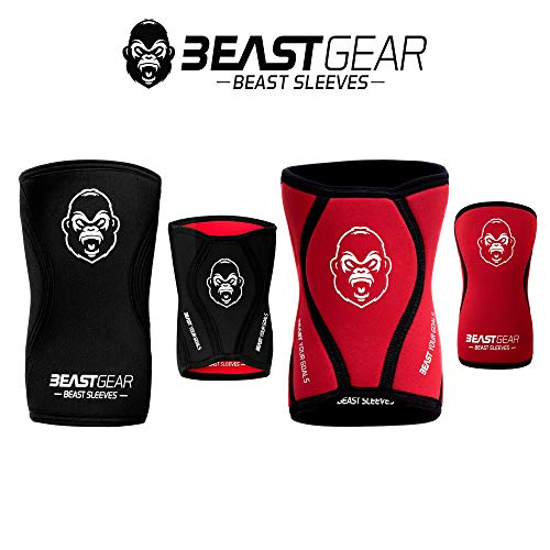 Beast Gear | Ginocchiere in Neoprene di Alta Qualità da 5mm per Supporto e Protezione Articolazioni durante lo Sport. \'Beast Sleeves\' Per Palestra, Sollevamento pesi, Crossfit, Powerlifting, Squat | S