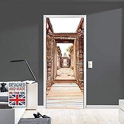 WALPLUS Wd10034Ancienne Porte d'entrée panoramique, Vinyle, Multicolore, 103x 5.4x 5.4cm