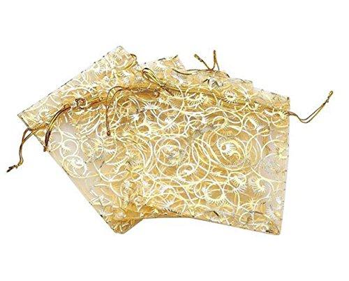 100 stücke 3,9 '' x 4,7 '' Goldene Champagne Wimpern Organza Kordelzug Schmuck Party Hochzeit Gunsten Geschenk Süßigkeiten Taschen (Hochzeit Gunsten Box-gold)