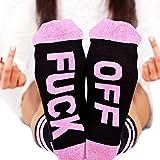 Bornbayb Frauen Männer Fuck-Off Lustige Socken Mid-Calf Cotton Half Crew Socken