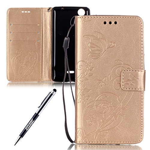 Wiko Rainbow Lite Custodia, Wiko Rainbow Lite Cover, Wiko Rainbow Lite Custodia Pelle Portafoglio, JAWSEU [Shock-Absorption][Anti Scratch] Lusso 3D Goffratura Fiore Farfalla Wallet Leather Flip Cover  Fiore, Oro