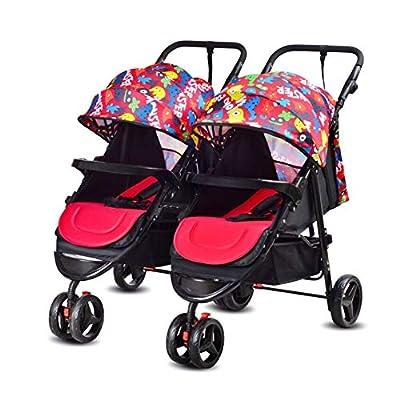 Sillas de paseo gemelas y en tándem, cochecito de niño combinado, barra de parachoques Asiento extraíble Asa ajustable de altura regulable, doble carrito plegable ligero