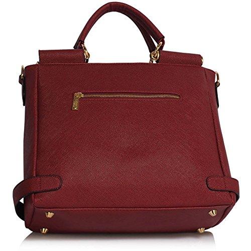 LeahWard® Große Größe oben Griff Kunstleder nett Groß Handtaschen Satchels Taschen 237 A-Burgundy