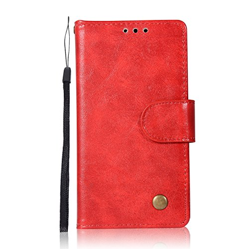 Chreey Lenovo A2010 Hülle, Premium Handyhülle Tasche Leder Flip Case Brieftasche Etui Schutzhülle Ledertasche, Rot