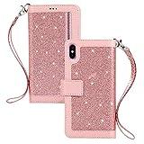 QC-EMART Housse pour iPhone XS Max Coque en Cuir Or Rose Briller Paillette...