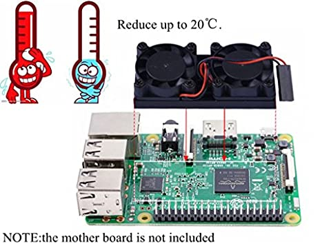 Double Ultimate Cooling Fan Kit 56mm * 25mm * 13 mm For Raspberry Pi 3 / 2 / B +, Brushless CPU Cooling Fan with Adhesive Paper