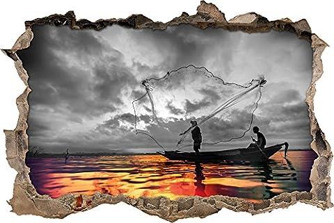 Pixxprint 3D_WD_4979_92x62 Angler angeln mit großem Fangnetz auf See Wanddurchbruch 3D Wandtattoo, Vinyl, schwarz / weiß, 92 x 62 x 0,02 (Usa Zu Weihnachten)
