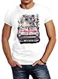 Neverless Herren T-Shirt Union Jack London United Kingdom Car UK Flag Flagge England Great Britain Slim Fit Weiß S