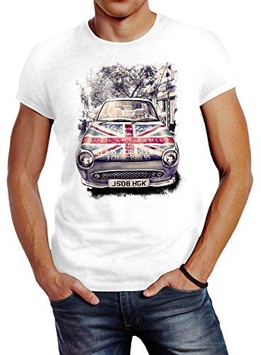 Neverless Herren T-Shirt Union Jack London United Kingdom Car UK Flag Flagge England Great Britain Slim Fit Weiß