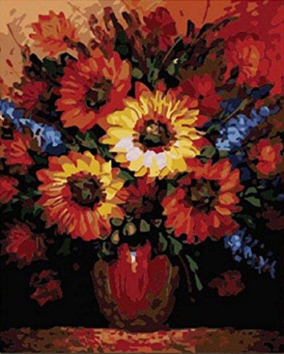 PaintingStudio tournesol fleur dans un vase peinture a l'huile de bricolage par des numeros Kits l'image de la peinture sur toile 16x20 pouces (Encadre)